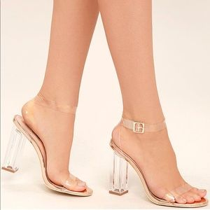 Lulus CLEAR TO SEE ROSE GOLD LUCITE HEELS